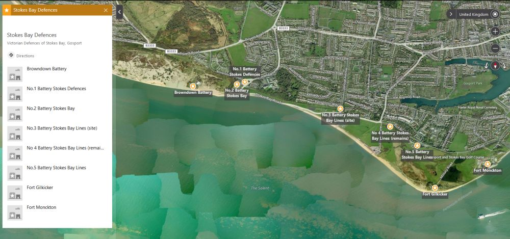 Stokes Bay Defences Map