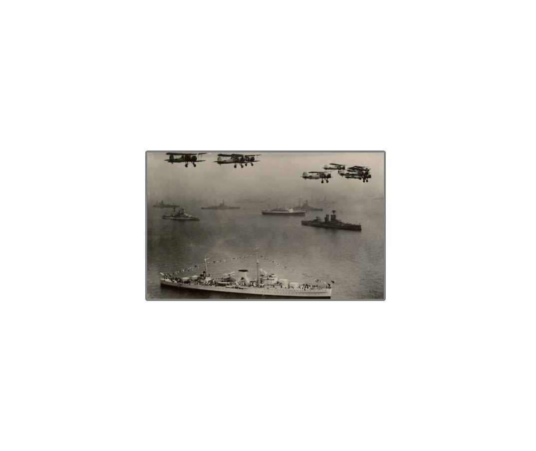 Fleet Review 1937 Fleet Air Arm flys over Naval ships