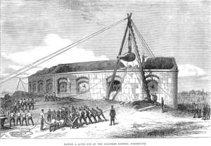 Raising the guns at Fort Gilkicker