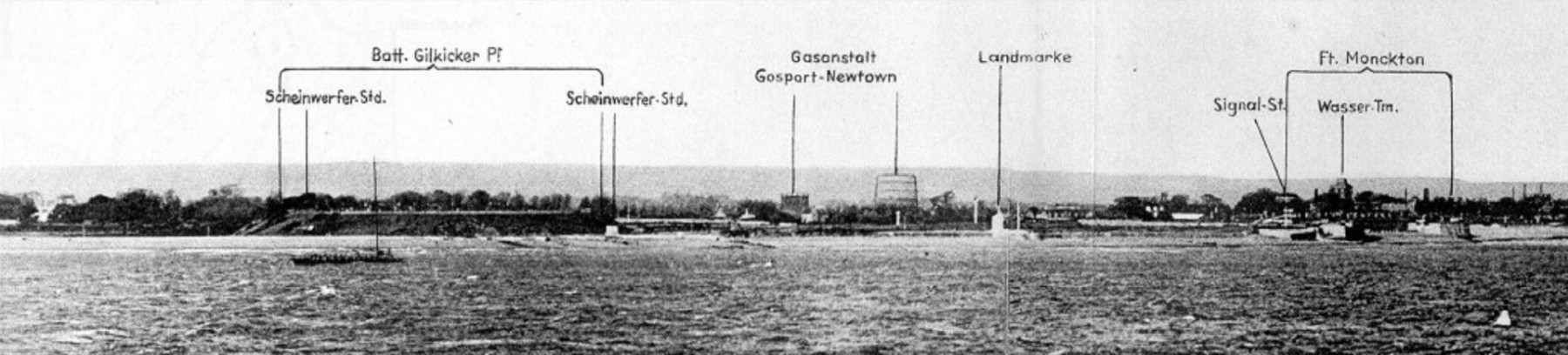 German reconnaissance photograph 1939 showing Gilkicker searchlights