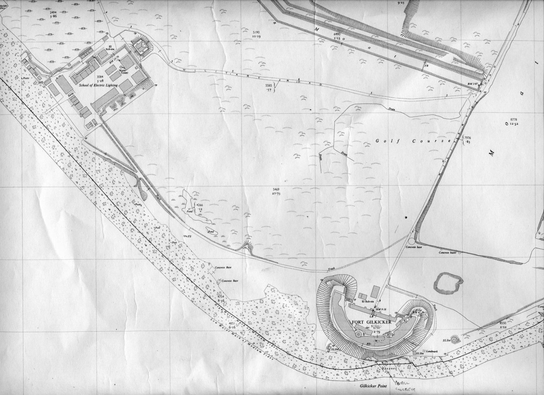 Map showing the searchlight bases.