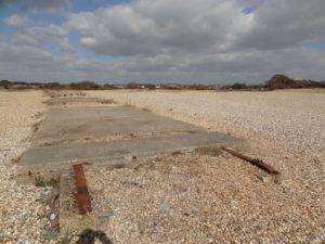Concrete plinths at Browndown, Stokes Bay Gosport